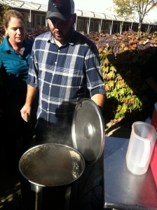 Matt Noble checking on his boil kettle during the all-grain class in St. Helena.